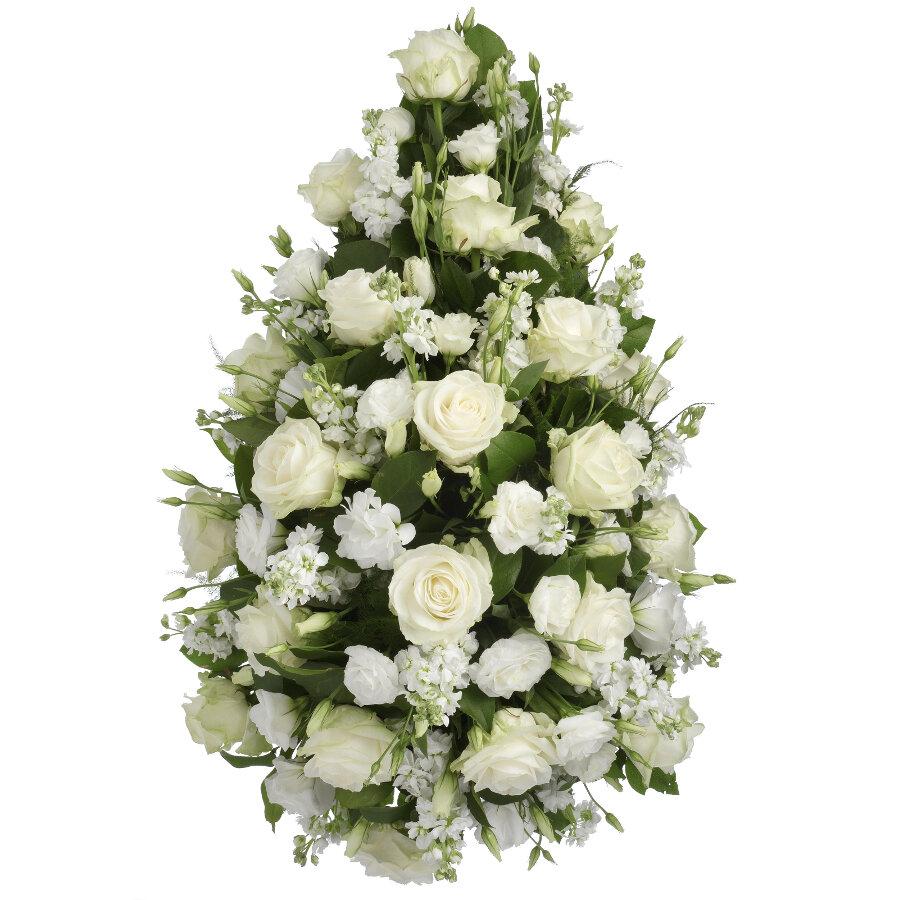 Rouwstuk witte bloemen druppel model ( P 101 )